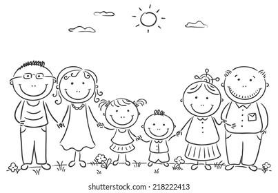 big happy family outdoors black white stock vector 222501316 rh shutterstock com my family clipart black and white family images clip art black and white