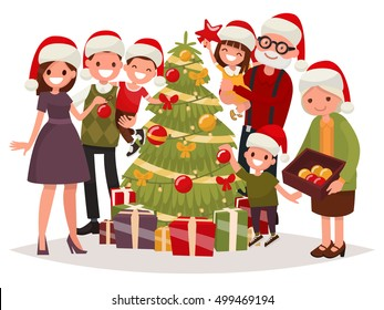 Big happy family decorates the Christmas tree. Vector illustration of a flat design