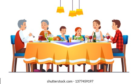 Big happy family dining together celebrating thanksgiving with turkey, wine. Grandparents, parents, kids eating together sitting at full laid table smiling, talking. Flat vector character illustration