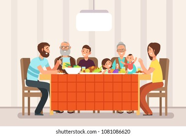 Big happy family eating lunch together in living room cartoon vector illustration. Lunch family, father mother with children and parents