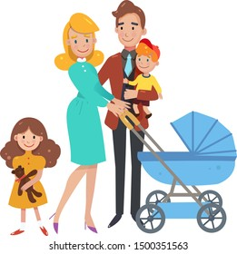 big happy family, mom, dad and three children. Vector illustration of a flat design