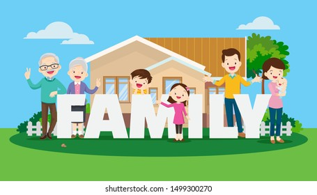 Big happy family on the background of the house. Parents and children, grandparents together. Buying or building a home with word family.