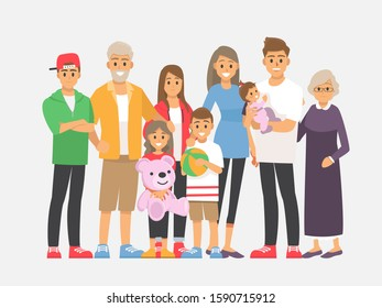 Big happy family portrait. Vector people. Father, mother, grandfather,grandmother, children.