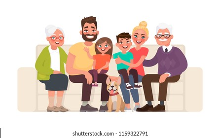 Big happy family sitting on the sofa. Grandmother, grandfather, father, mother, children and pet. Vector illustration in cartoon style