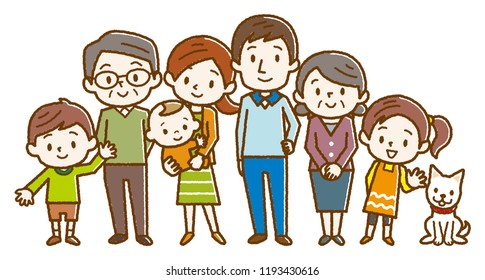 Big happy family. Vector illustration.