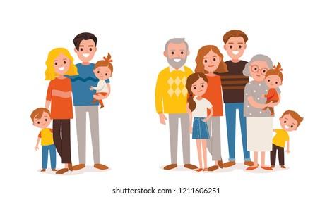 Big, happy multi-generational family. Families portraits set.