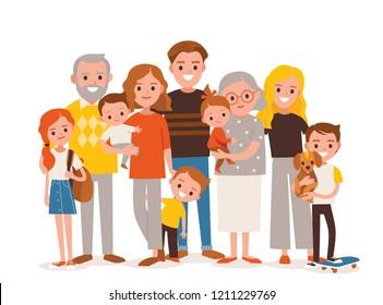 Big, happy multi-generational family. Family portrait