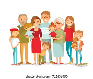 Big happy multi-generational family siblings relatives portrait. Vector people. Seniors mother and father with babies, children grandchildrens and grandparents. Grandma grandpa mom dad.