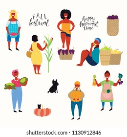 Big harvest set with beautiful women picking berries, pumpkin, vegetables, fruit, stomping grapes, dog, cat. Isolated objects on white background. Hand drawn vector illustration. Flat style design.