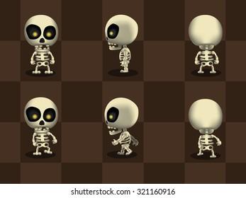 Big Head Skeleton Walking Cartoon Vector