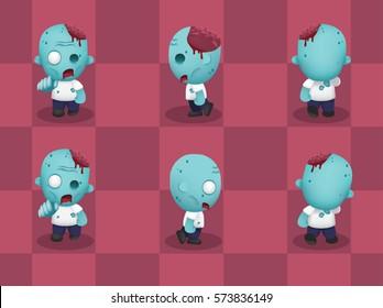 Big Head Zombie Walking Cartoon Vector Illustration