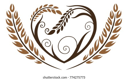 Big heart with cereals. Beautiful bakery motif.