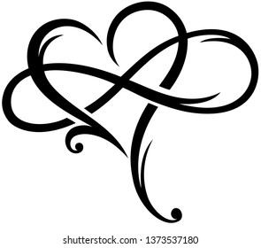 Big heart with infinity symbol.Aa sign of eternal infinite love. Very romantic. Gift Idea for Valentines Day, Mothers Day, Fathers Day, for friends, amorous and family.