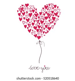 Big heart made from small hearts, Valentines day - I love you illustration. Romantic and cute hand drawn greeting card