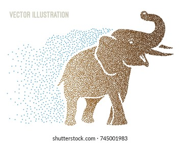 Big heavy Indian elephant consisting of small dots. Point art. Design for banner, poster, billboard, print for tshirt. Element of advertising. African elephant. Vector illustration on white background