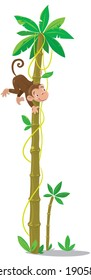 Big high palm tree with small funny monkey. Children vector illustration