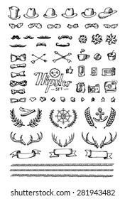 Big Hipster set. Hand draw on white paper. Vector illustration.