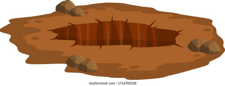 Big hole in ground. Brown dry soil and mine. Element of desert landscape. Cartoon illustration
