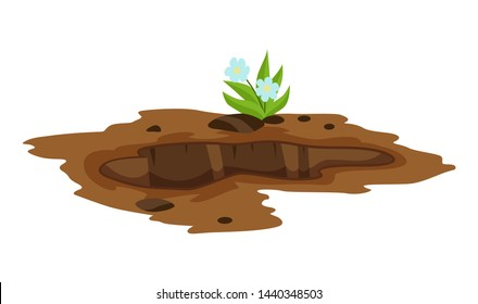 A Big Hole the Ground illustration. Ground works digging of sand coal waste rock and gravel illustration.