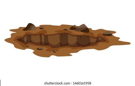 A Big Hole the Ground illustration. Ground works digging of sand coal waste rock and gravel illustration.