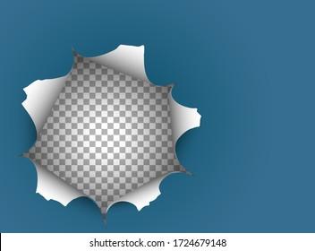 Big hole on blue paper illustration