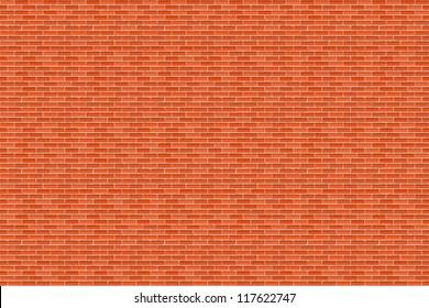 Big horizontal brown brick wall, vector eps10 illustration