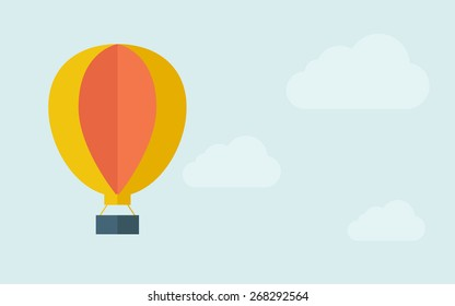 A big hot air balloon. A contemporary style with pastel palette, light blue cloudy sky background. Vector flat design illustration. Horizontal layout with text space on right part.