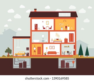 Big house cut section with home interior design and furniture. Building construction plan with garage, bedroom, bathroom, office, kitchen, basement - vector illustration