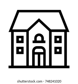 Big house modern line icon. Linear style vector illustration of a mansion. Simple symbol of a bungalow.