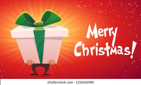 big huge gift package box with ribbon bow cartoon funny beautiful style . text calligraphy lettering Merry Christmas xmasposter card . vector illustration