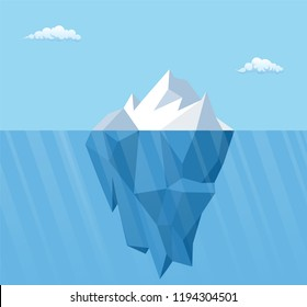 Big iceberg floating on water waves with underwater part