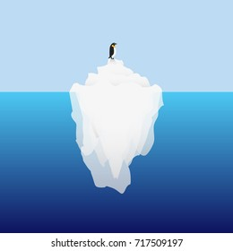 Big iceberg floating on water waves with penguin