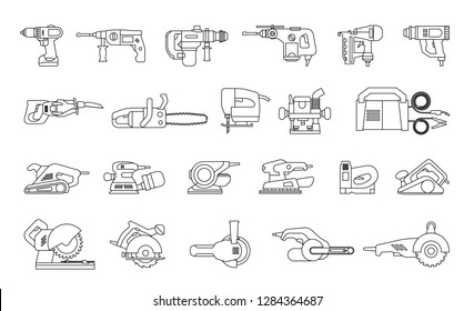 Big icon collection of power electric hand tools. Set of master tools for wood, metal, plastic, stone, etc.