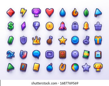 Big icon set  for 2d game user interface. Icons for build tower defence game. Universal icons for different themes. Resource icons, Awards, Food and Prizes. Vector illustration on izolidet bacraund.