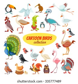 Big icon set of cute cartoon birds from around the world.Vector illustration isolated on white background