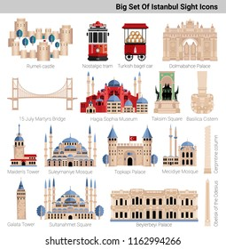 Big Istanbul's icon set illustration in flat style with most popular historical famous places symbols, sight. Palaces, bridge, mosques, monuments and landmarks.