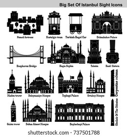 Big icon set of Istanbul's touristic, historical, famous places and symbols. Palaces, bridge, mosques and monuments, signs black silhouette icons. Vector illustration.