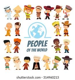 Big icon set with people of various nationalities in traditional costumes. Peoples from around the world. Isolated on white.Vector illustrations
