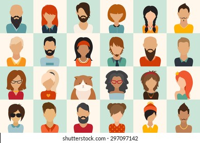Big icons set. 12 women, 11 men and 1 cat flat icon vector illustration. Web userpic and others