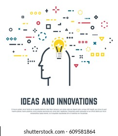 Big idea concept. Human head with lightbulb and abstract thoughts in geometric colored shapes. Old light bulb form. Line style vector. Imagination and innovation, creativity and thinking
