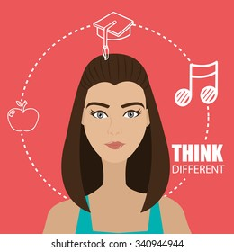 Big ideas from young minds cartoon graphic design, vector illustration.