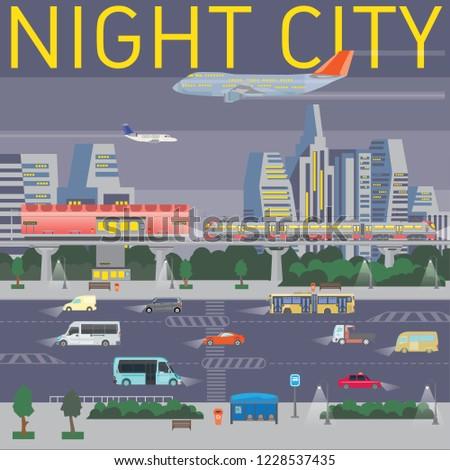 dd74999ec9 Big Illustration Night City Traffic Airplanes Stock Vector (Royalty ...