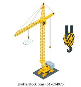 Big industrial crane. Isometric construction site.