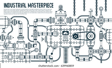Big industrial steampunk machine with many details. Vector illustration.