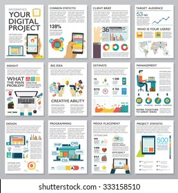 Big infographics in flat style. Vector illustrations about digital projects, management, clients brief, design and communication. Use in website, corporate report, presentation, advertising, marketing