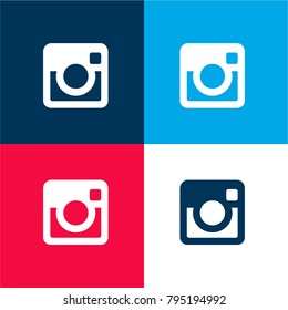 Big Instagram Logo four color material and minimal icon logo set in red and blue