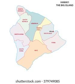 Big Island, hawaii, administrative map