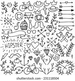 Big isolated black outline vector hipster set, doodle hand drawn modern elements collection
