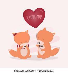 Big isolated cartoon Cute animals romantic animals couples in love, Valentine's concept, Vector illustration