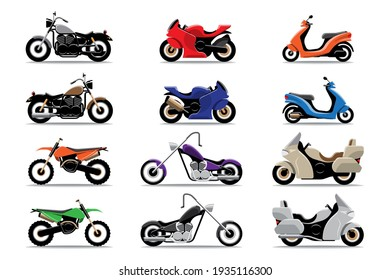 Big isolated Motorcycle vector colorful icons set, flat illustrations of various type motorcycles.